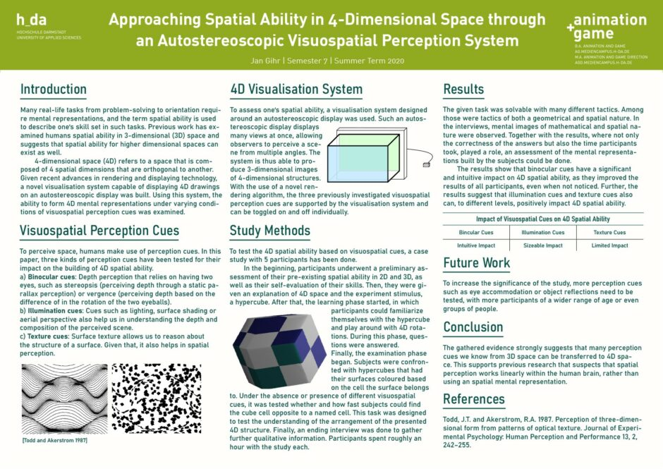 Approaching Spatial Ability in 4-Dimensional Space through an Autostereoscopic Visuospatial Perception System - JanGihr -SS2020
