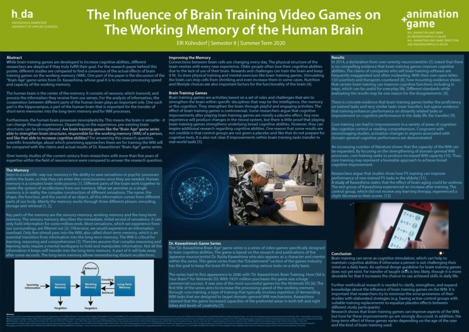 The Influence of Brain Training Video Games on the working memory of the human brain - Elfi Kühndorf - SS2020