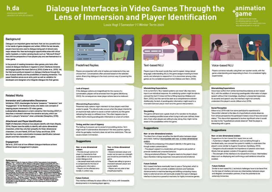 Dialogue Interfaces in Video Games Through the Lens of Immersion and Player Identification - Louis Vogt - WS20/21